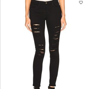 "Frame""Le Skinny de Jeanne"" black ripped jeans"